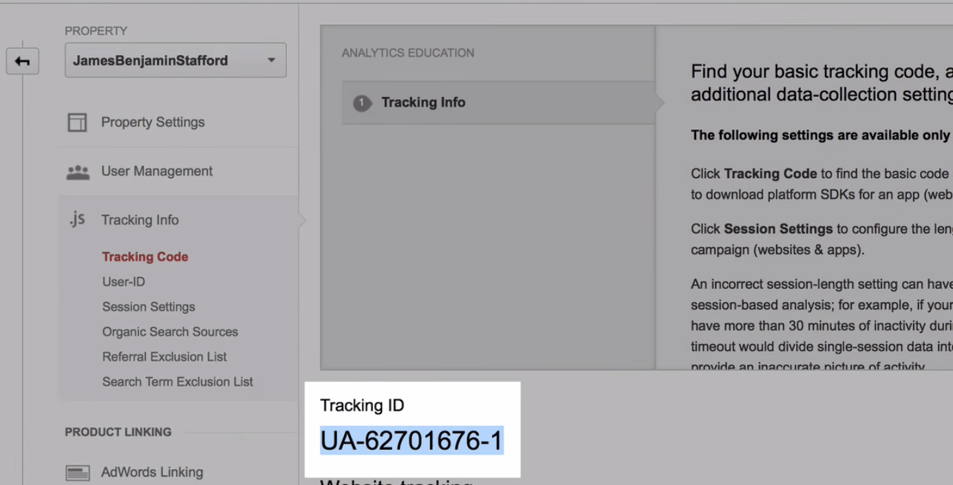 Tracking ID number