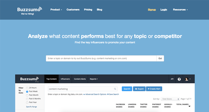 Buzzsumo - Content Curation Websites Made Easy