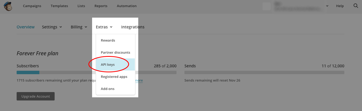 how to send email using mailchimp api